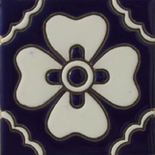 Hand Painted Relief Tile White Clover