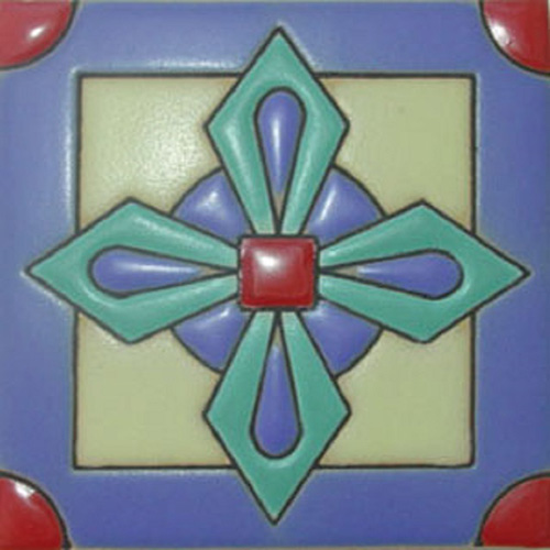 Artisan Produced Relief Tile Blue Cross