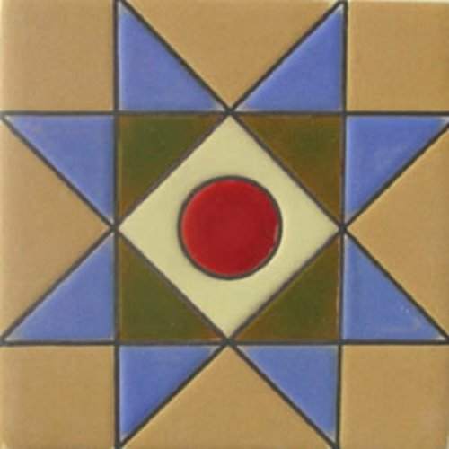 Handmade Relief Tile Blue Star