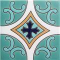 Hand Painted Relief Tile Cobalt Cross