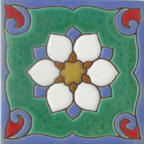 Handcrafted Relief Tile Beautiful White Flower