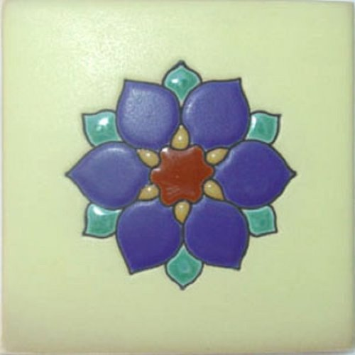 Hand Painted Relief Tile Center Flower