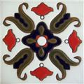 Handcrafted Relief Tile White Bellflower