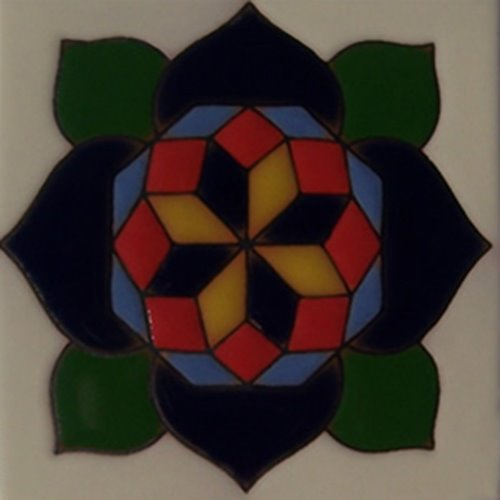 Artisan Produced Relief Tile Geometric Flower
