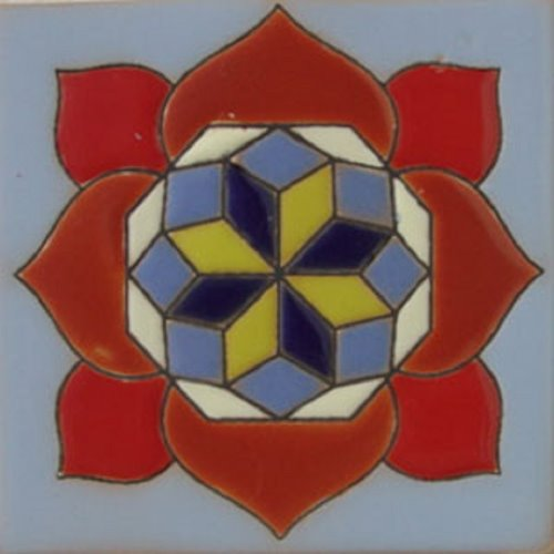 Handmade Relief Tile Geometric Rose