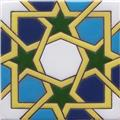 Hand Painted Relief Tile Green Stars