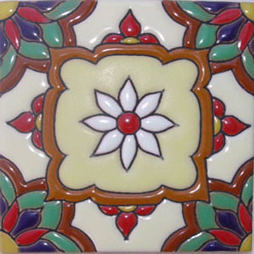 Handcrafted Relief Tile Gerbera Flower