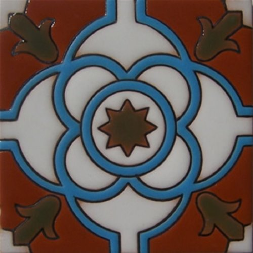 Handcrafted Relief Tile Turquoise Circles