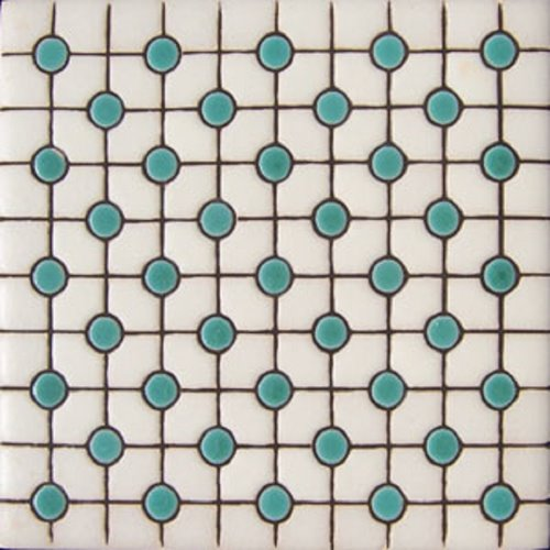 Handcrafted Relief Tile Green Points
