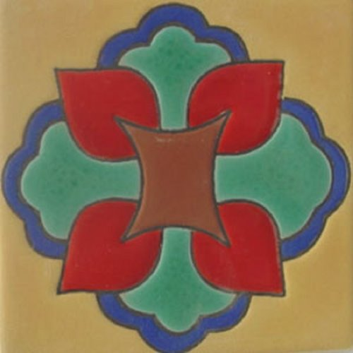 Hand Painted Relief Tile Isabel
