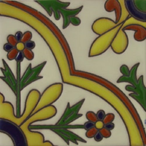 Artisan Produced Relief Tile Decorative Flowers