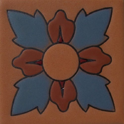 Hand Painted Relief Tile Adelfa Flower