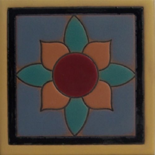 Artisan Produced Relief Tile Lotus Flower