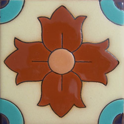 Artisan Produced Relief Tile Azalea Flower