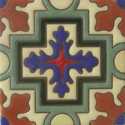 Handmade Relief Tile Gray Cross