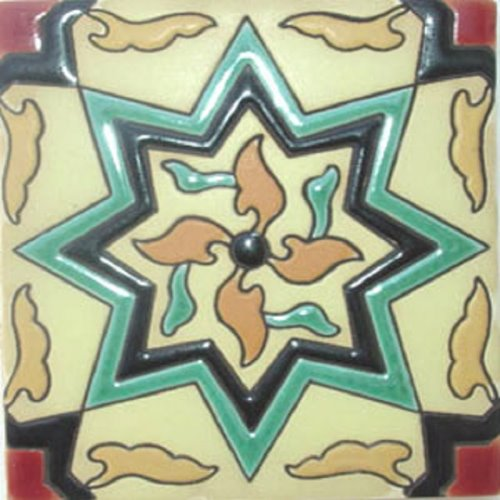 Handcrafted Relief Tile Pastel Green Star