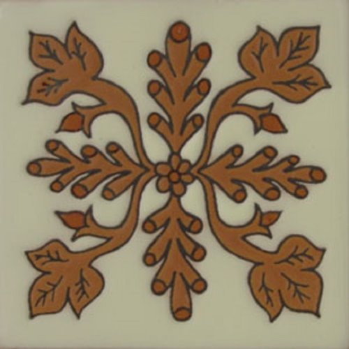 Hand Painted Relief Tile Heliconia