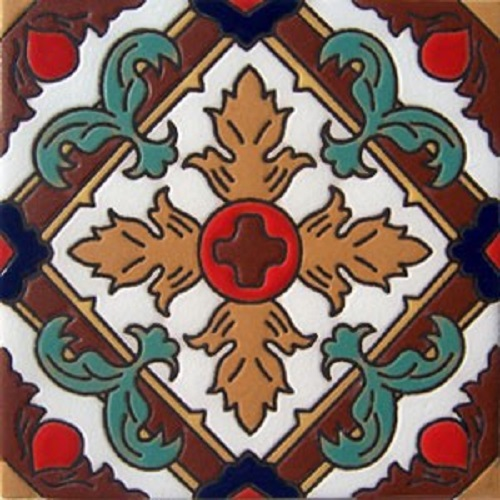 Handmade Relief Tile Colorful Fleur of Lis