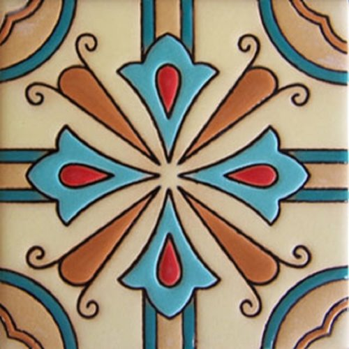 Hand Painted Relief Tile Floral