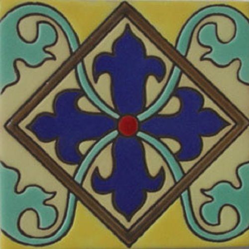 Handmade Relief Tile Cross Lily