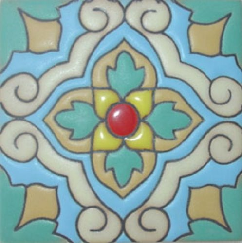 Handcrafted Relief Tile Spring Flower