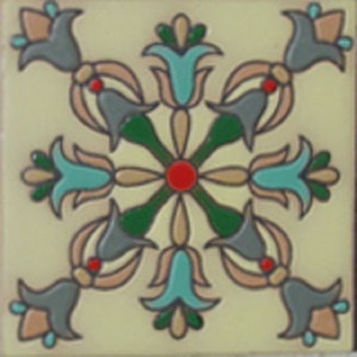 Hand Painted Relief Tile Wonderful Floral