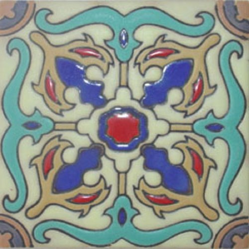 Hand Painted Relief Tile Grisel