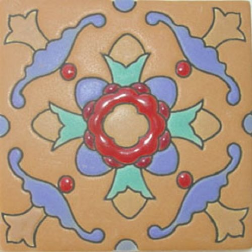 Artisan Produced Relief Tile Red Flower
