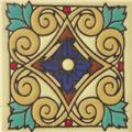 Artisan Produced Relief Tile Cobalt Flower