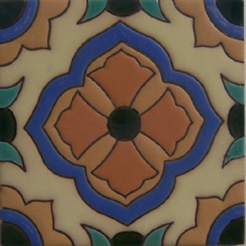 Hand Painted Relief Tile Brown Fleur of Lis