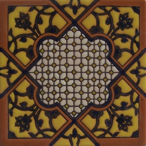 Hand Painted Relief Tile Marlene