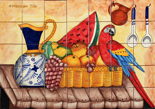 hand painted kitchen tile mural