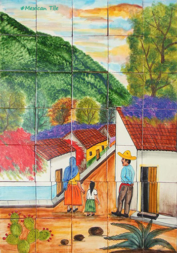 mexican kitchen tile mural