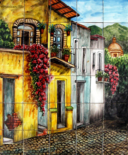 mexican kitchen tile mural colonial street