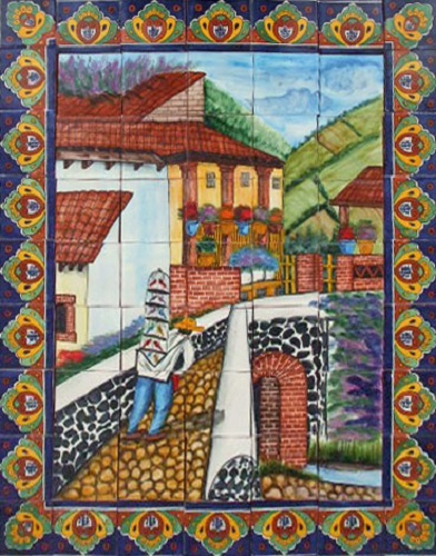 mexican kitchen tile mural bird