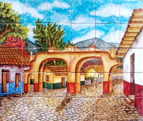 painted kitchen tile mural from Mexico