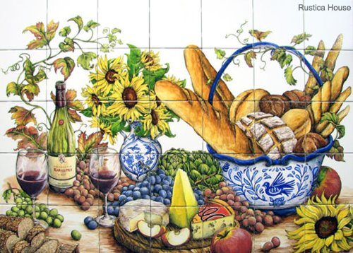 mexican kitchen wall tile mural flowers
