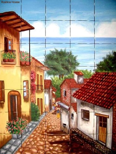 mexican kitchen tile mural Colonial Village