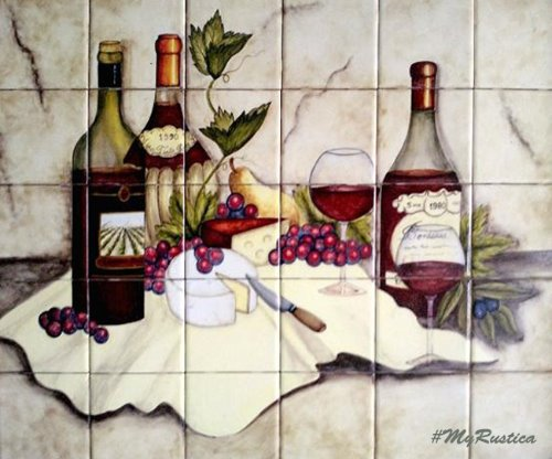 mexican kitchen tile mural Cheese and Wine