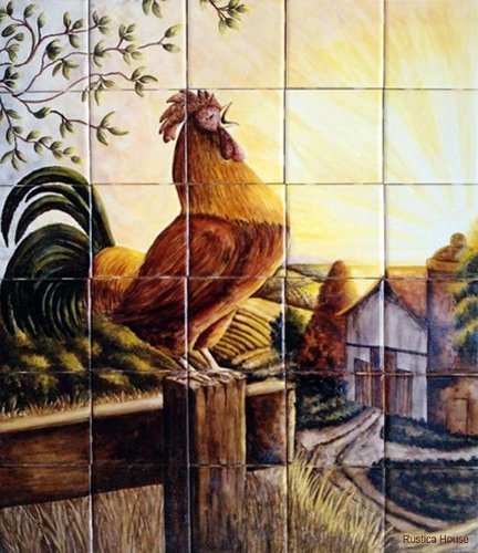 kitchen tile mural Cockcrow