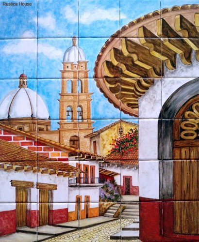 mexican ceramic tile kitchen mural Colonial Church