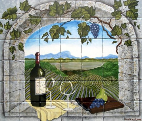 kitchen tile mural Vineyard View