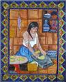 ceramic tile mural Grinding Woman
