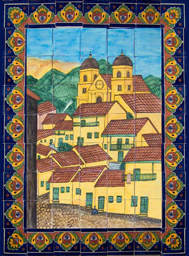 ceramic tile mural Colonial Houses