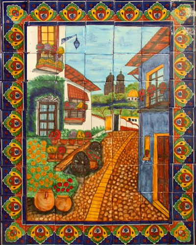 Kitchen tile mural colorful colonial town mexican for Arte mural en mexico