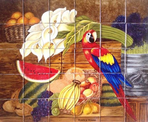 kitchen tile mural Macaw and Calla Lilies