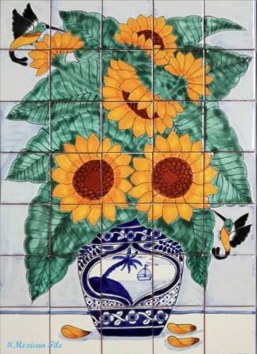 mexican kitchen tile mural Sunflowers