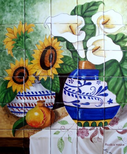 kitchen tile mural Sunflowers and Calla Lilies