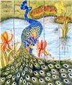 hand painted kitchen tile mural pavo real