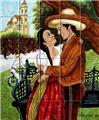 kitchen tile mural Romance in the Village